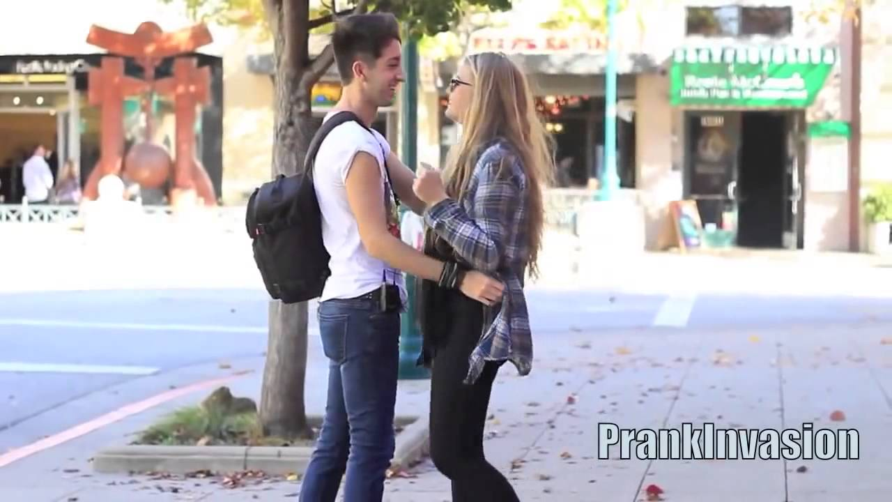 Kissing strangers prank