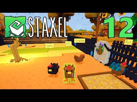 [12] Spooky Chicken Coop Expansion!!! (Let's Play Staxel Multiplayer)