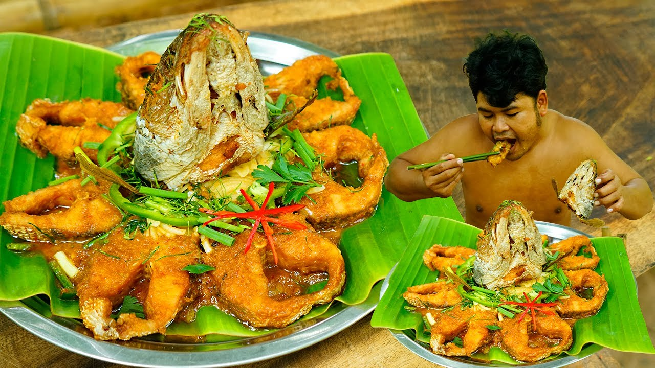 Cooking Masala Fish Curry Eating So yummy - Deep Fried Fish Curry Recipe