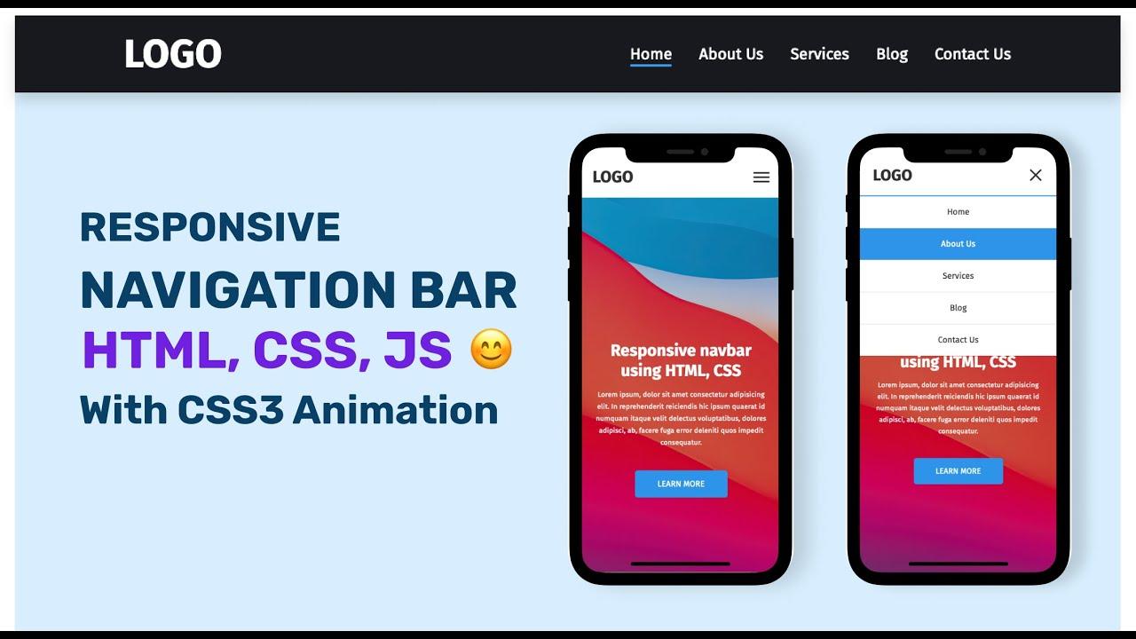 Responsive Navigation Bar Using HTML CSS JavaScript