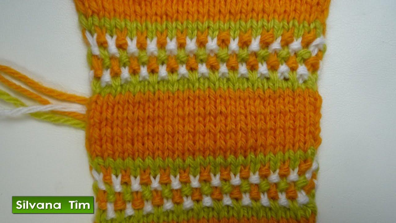 Punto puntada jacquard lineas horizontales de 3 colores - Puntos de dos colores a dos agujas ...