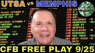 College Football Picks and Predictions | UTSA vs Memphis Betting Preview | CFB Free Play 9/25