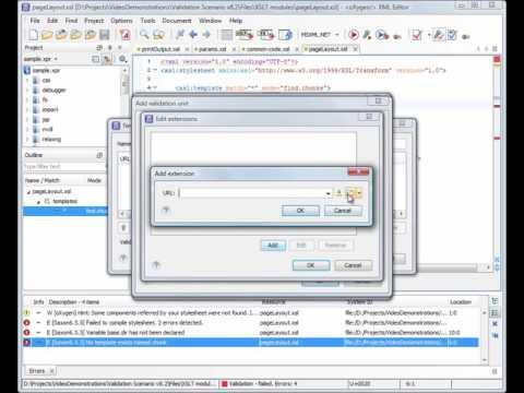 Validation Scenario in Oxygen XML Editor 12.1