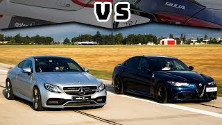 Mercedes - AMG C63S Coupe vs. Alfa Romeo Giulia QV | Drag & Rolling Yarışı ! (English Subtitled)