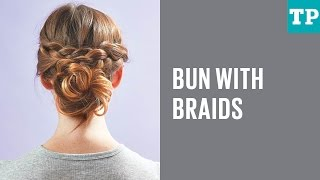 How to do a messy knotted bun with braids