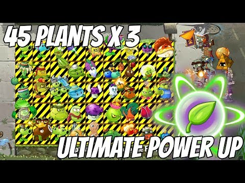 45 Plants Power UP at the SAME TIME : Plants vs Zombies 2 Epic Hack : TOTAL CHAOS