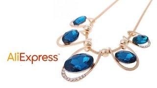 Видео-обзор с Aliexpress - Ожерелье с крупными синими  камнями
