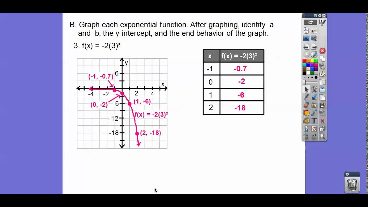 Worksheets Graphing Exponential Functions Worksheet graphing exponential functions module 14 4 youtube 4