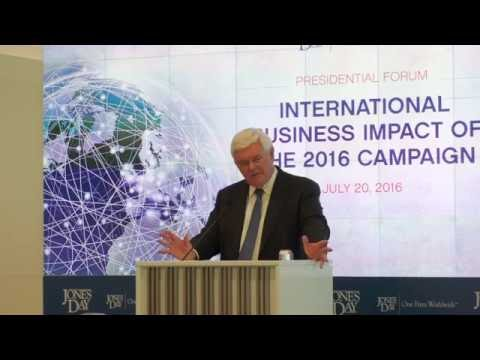 Newt Gingrich Discusses International Business Impact of 2016 Campaign