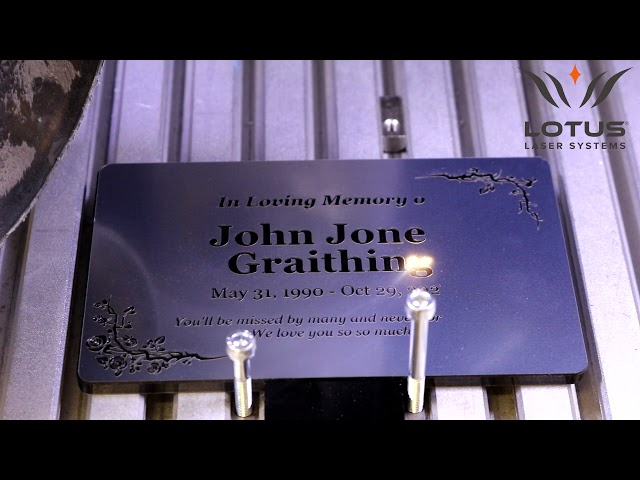 Lotus Laser Systems Meta-C 75w CO2 laser engraving acrylic laminate memorial plaques