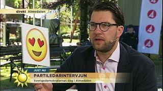 Jimmie Åkesson visar med emojis vad han tycker om Ebba Busch Thor - Nyhetsmorgon (TV4)