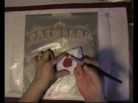 Stenciled placemats useing Deco Art stencil and paint