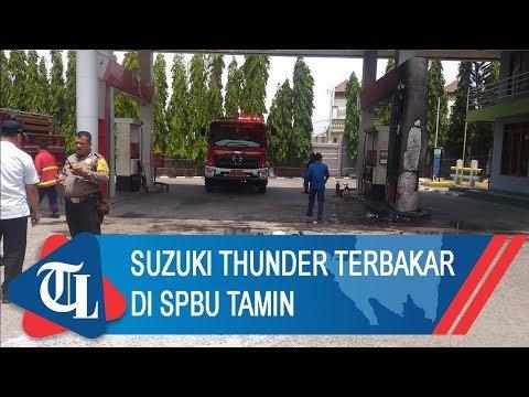 Suzuki Thunder Terbakar Di SPBU Tamin | Tribun Lampung News Video