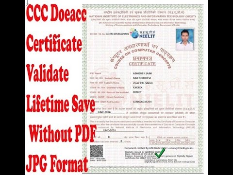ccc doeacc cerificate validate lifetime save without pdf in jpg format hindi