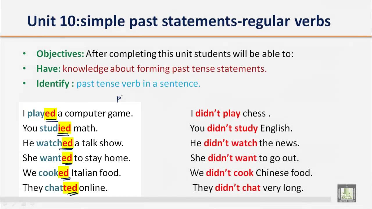 grammar b1 u10 simple past statements regular verbs youtube