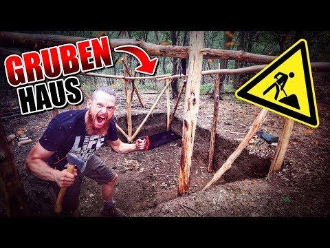 GRUBENHAUS Bushcraft Shelter #005 – Lagerbau – Outdoor Bushcraft Camp | Fritz Meinecke