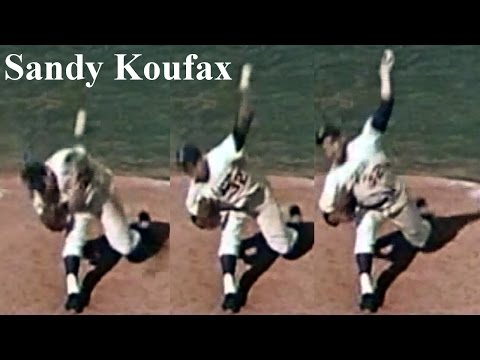 "Sandy Koufax form ""spread hip joints & pitch at high release point"" Pitching Mechanics Slow Motion"