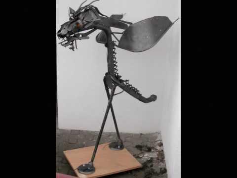 skulpturen aus schrott von hans j rgen fuhrmann youtube. Black Bedroom Furniture Sets. Home Design Ideas
