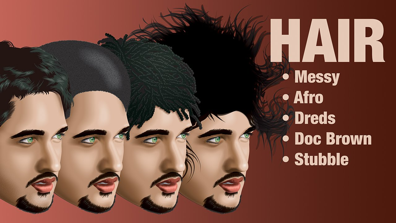 Male Hair With Adobe Illustrator YouTube