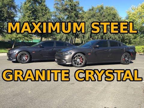 2016 Charger Scat Pack - Maximum Steel Metallic vs Granite Crystal Pearl  color