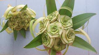 Cách làm hoa và bó hoa hồng bằng lá dừa đẹp đơn giản #TOITNT