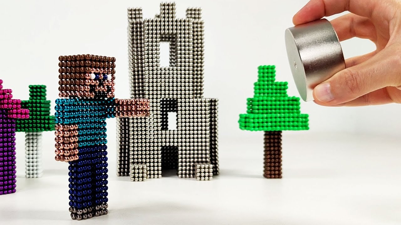 Steve builds a Minecraft Village with me   Magnetic Games