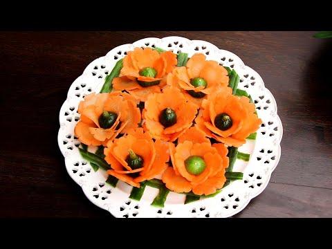 Art In Carrot Flower   Vegetable Carving Garnish   Food Decoration   Party Garnishing