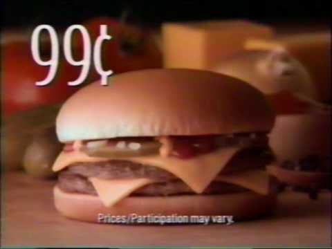 Commercial McDonalds Double Cheeseburner For 99 Cents 1994