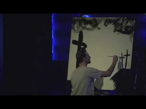 Jesus Painting performance upside down at Watermark Church Dallas Texas
