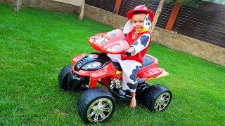 Funny Baby Unboxing And Assembling The POWER Wheel Ride On Quad Bike Paw Patrol