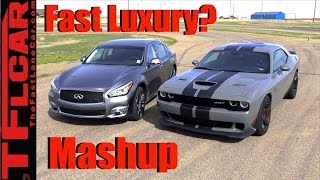 2017 Dodge Challenger Hellcat vs Infiniti Q70L: 0-60 MPH Mashup Review