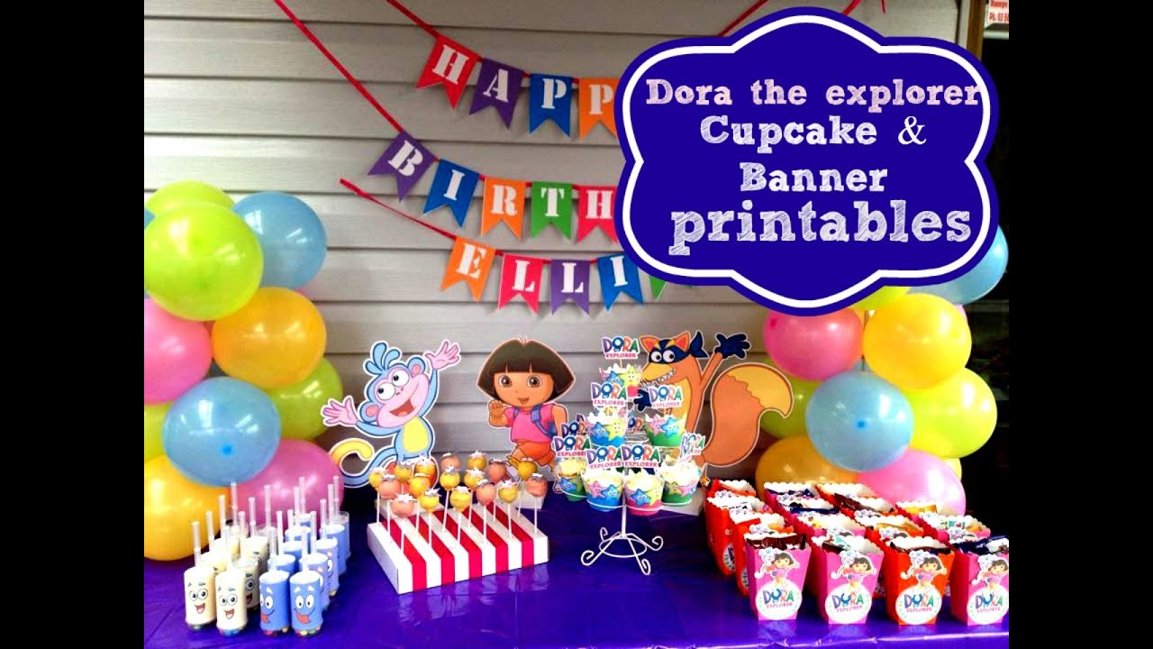 how to make dora the explorer cupcake toppers happy birthday banner at home with free printables youtube - Dora The Explorer Pictures To Print Free