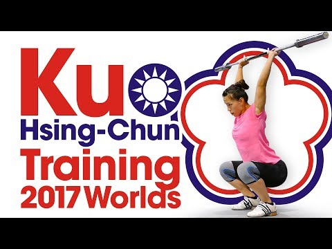 Kuo Hsing-Chun Power Snatch & Power Clean Session 2017 World Championships Training Hall