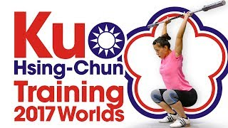 Kuo Hsing-Chun Power Snatch & Power Clean & Jerk Session 2017 World Championships Training Hall