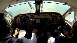 King Air B100 landing at JFK airport - cockpit view!