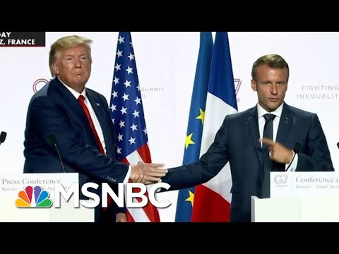 President Donald Trump And Macron Face Off In Another Handshake Tugging Contest | All In | MSNBC