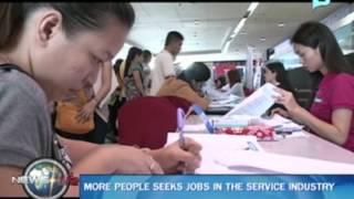 More people seeks jobs in the service industry