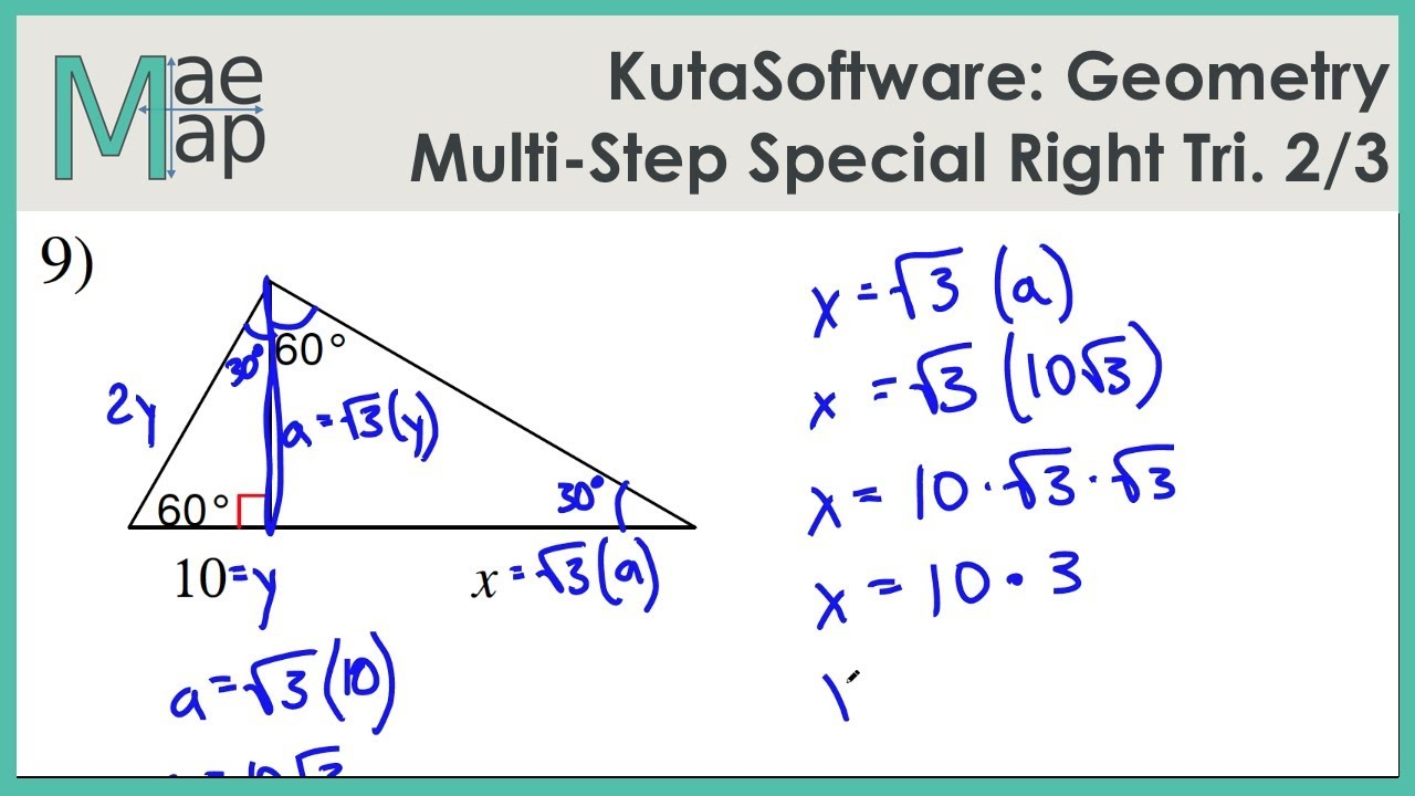 Kutasoftware Geometry Multi Step Special Right Triangles Part 2
