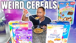 Trying ALL NEW WEIRD CEREALS OF 2021   Taste Test   Alonzo Lerone