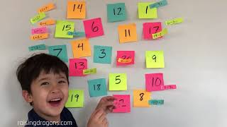Kindergarten Math Learning Game - Post It Notes Math Fact Game - Preschool Math Learning videos
