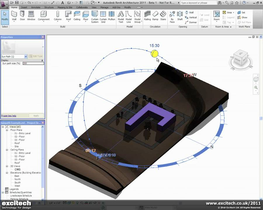 Revit Architecture 2011 Sunpath Analysis Youtube