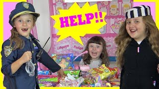 COPS AND ROBBERS In The Kid Candy Store ! STOLEN CAT means Someone's Going to Prison !