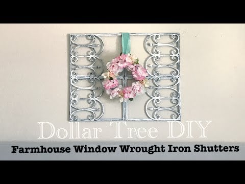 DOLLAR TREE DIY FAUX FARMHOUSE WINDOW WROUGHT IRON SHUTTERS Less than $12