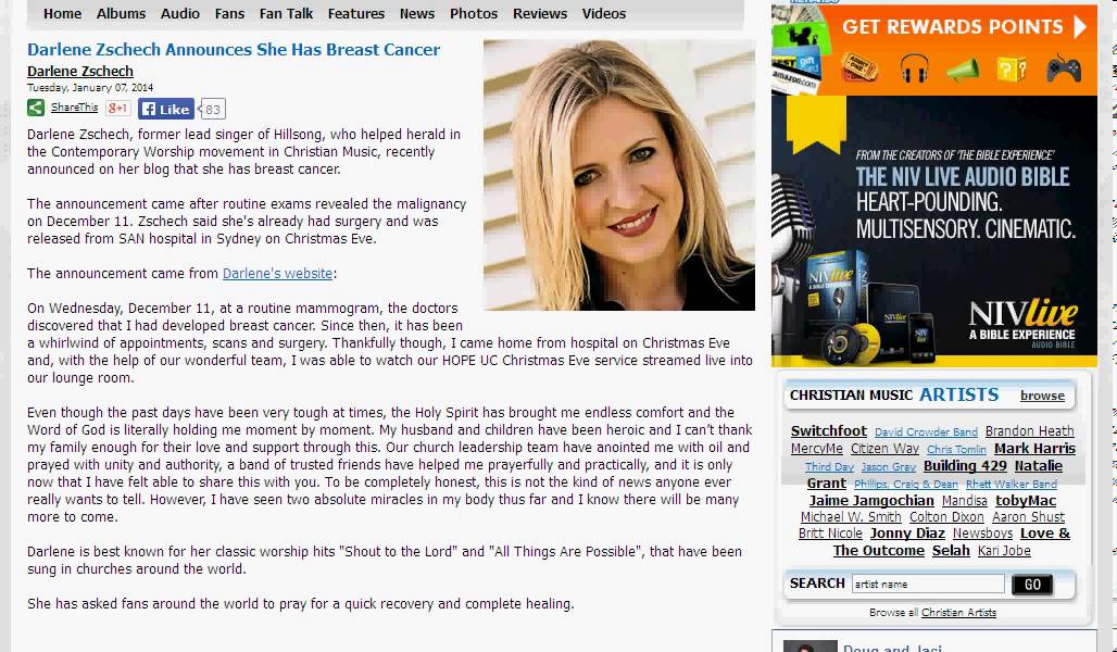 Darlene Zschech Announces She Has Breast Cancer - YouTube