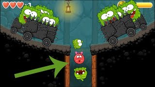 Playing Red Ball 4 with Om Nom Ball (Cut The Rope) with boss fights INTO THE CAVES