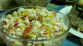 Салат с крабовыми палочками, рисом и кукурузой классический рецепт