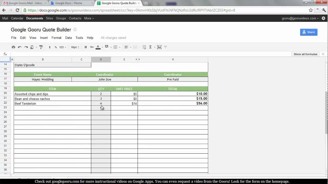 creating a quote builder in google spreadsheets