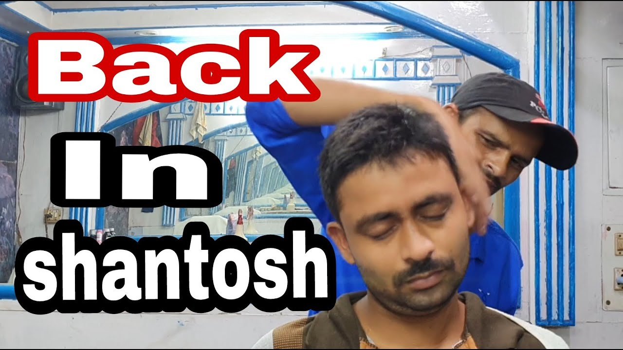 Head,neck and back body, hard tapping massage by santosh barber indian barber //asmr