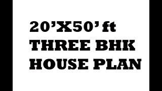 1000 sq ft 20x50 3bhk best House plan