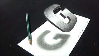 😯How to Draw 3D Floating Letter G - Drawing Letter G with Pencil & Marker - VamosART